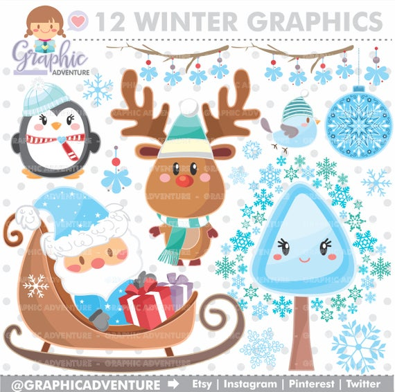 Winter Clipart, Winter Graphics, COMMERCIAL USE, Kawaii Clipart, Winter  Party, Planner Accessories, Winter Bear, Christmas Clipart.