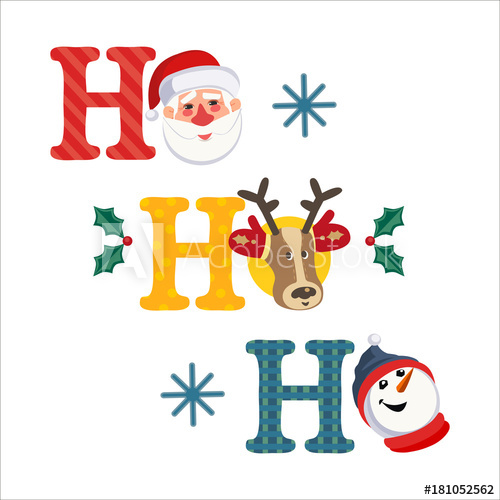 Holiday decoration. Cute Santa Claus, reindeer, snowman.