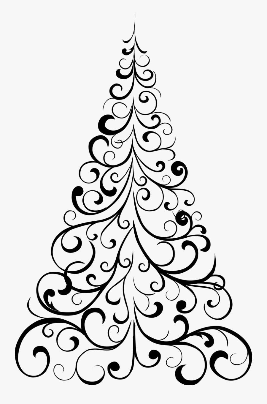 Jpg Free Library Black And White Christmas Tree Clipart.
