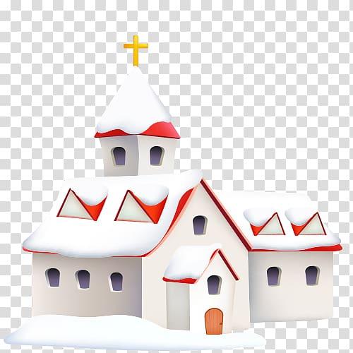 Snow Winter Computer file, Winter Church transparent.