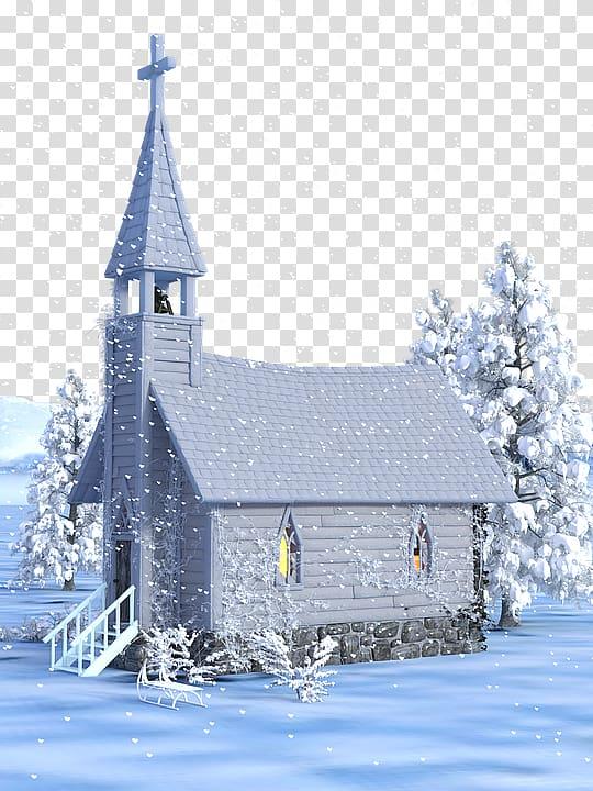Christmas Eve Church, Christmas church house snow.