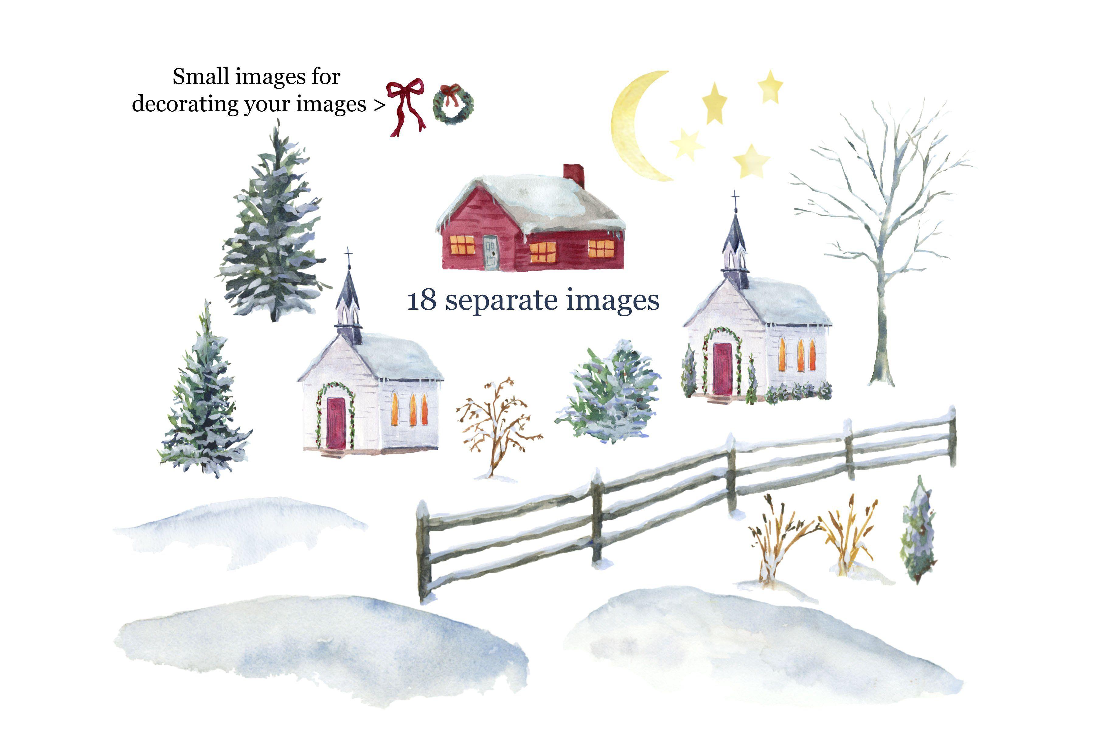 Winter Church Watercolor Clip Art #variety#depth#variations.