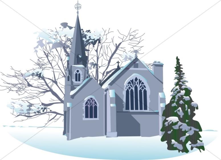 Snowy Winter Church.