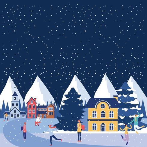 Small town winter scene.