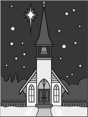 Clip Art: Religious: Winter Church Scene Grayscale I.
