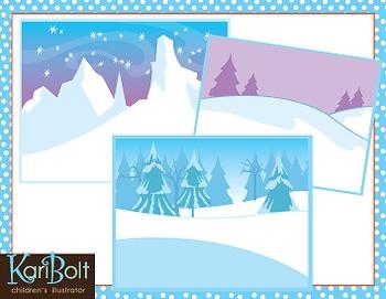 Frozen Winter Scenes Clip Art.