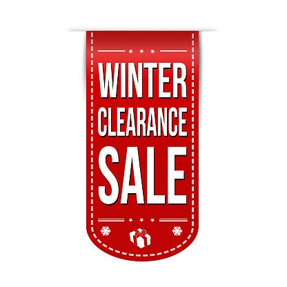 Winter clearance sale banner design Clipart Image.