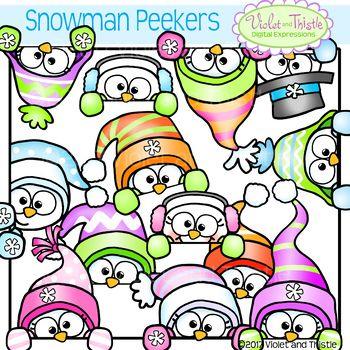 Snowman Clipart Peeker {Snowmen Page Topper}.