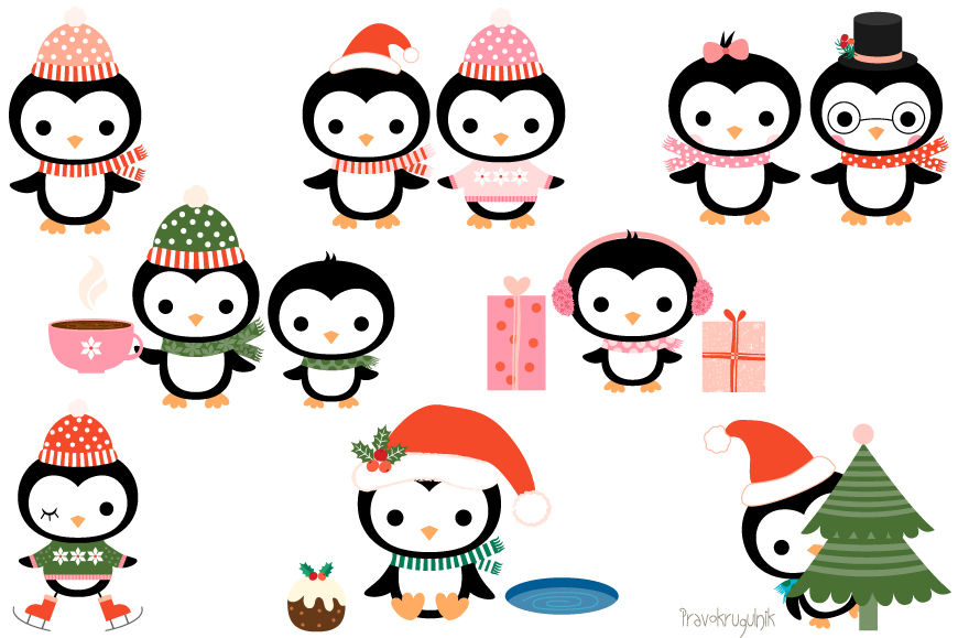 Christmas penguins clipart set, Cute penguin clip art.