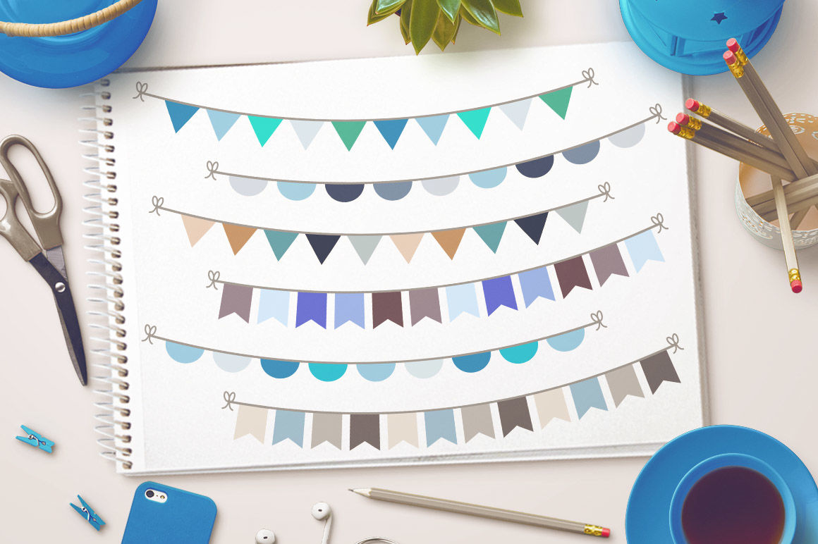 Winter Bunting Clipart, Winter Clipart, Garland Clipart.