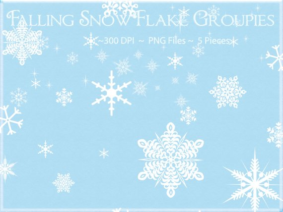 Snowflake Clipart, Falling Snowflake Clipart, Winter Clipart.