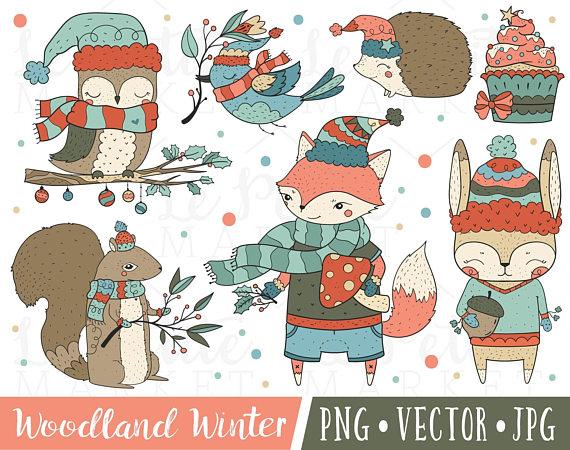 Cute Woodland Christmas Creatures Clipart Set, Christmas Fox.