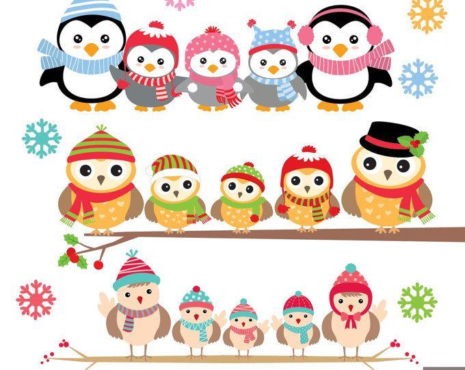 Invierno pingüinos Digital Clipart.