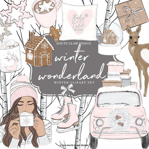 Winter Clipart Set, Winter Graphics, Illustrations, Pink.