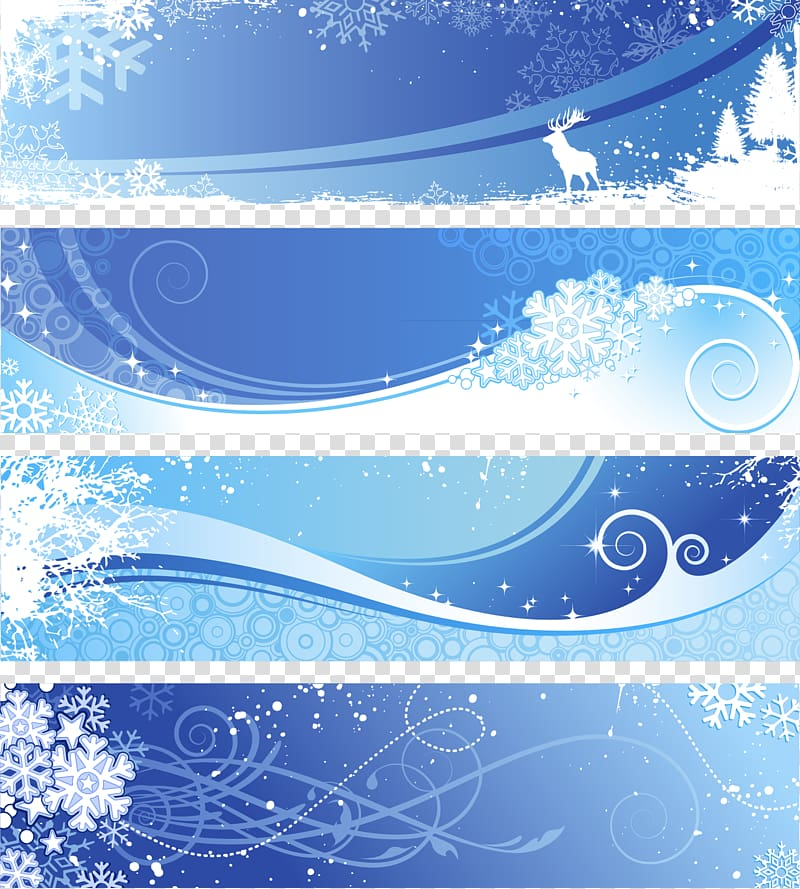 Blue snowflakes frame collage, Winter Snowflake Euclidean.