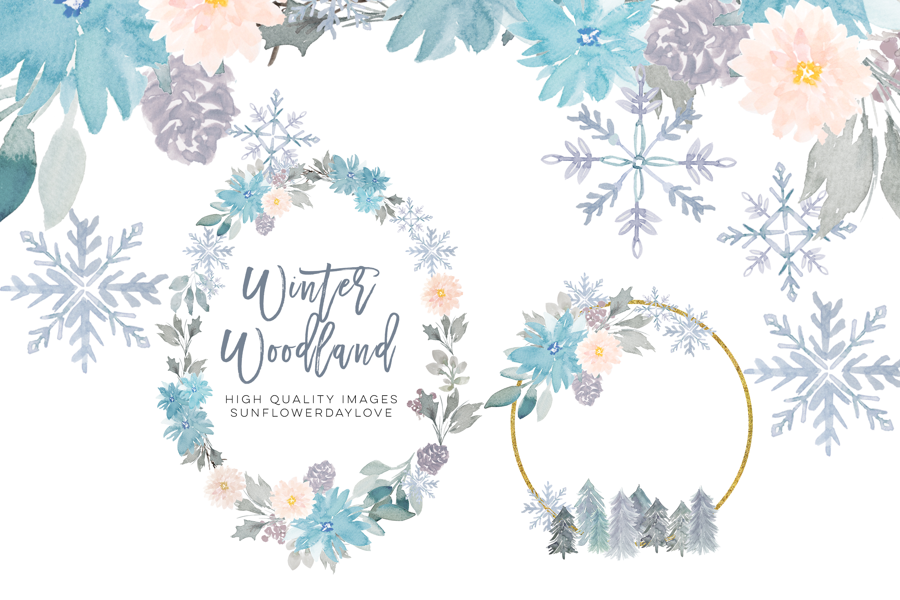 Woodland Winter Clipart Frame, Snow Holiday Gold Frames.