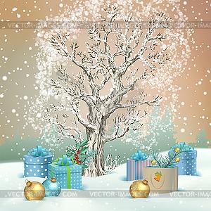 Christmas winter scene.