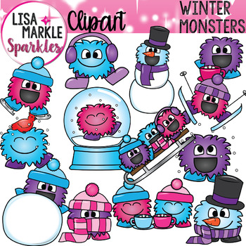 Winter Happy Monsters Clipart.
