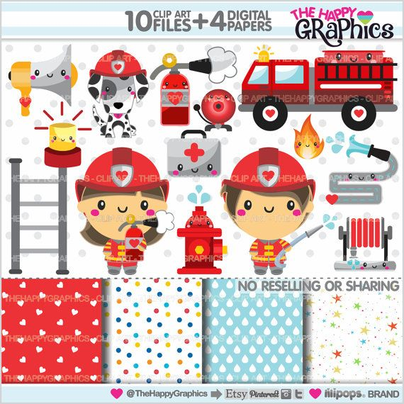 Firefighter Clipart Firefighter Graphics by TheHappyGraphics.