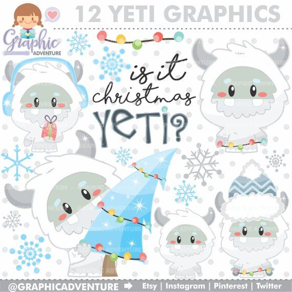 Yeti Clipart, Yeti Winter Clipart, Christmas Clip Art.