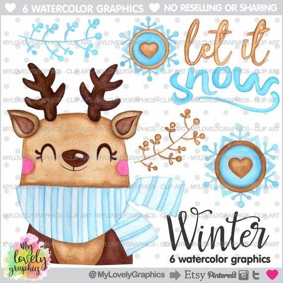 Winter Clipart, Winter Graphics, Christmas Clipart set in.