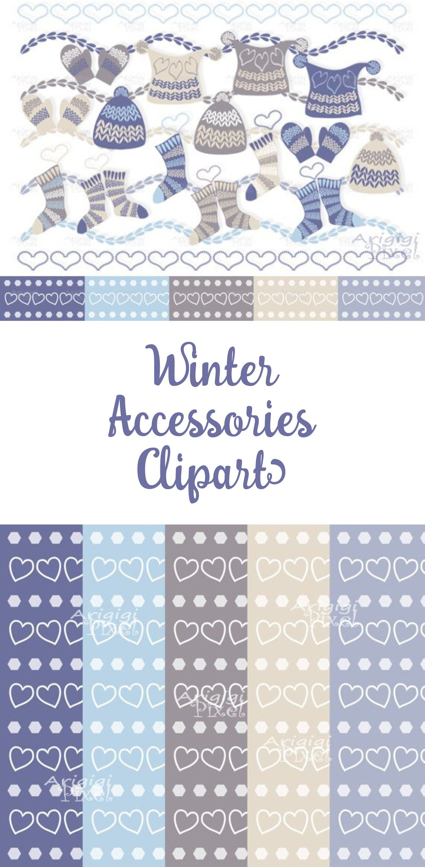 Blue Winter Clipart Set.