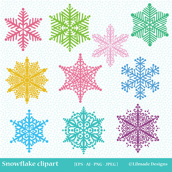 Snowflake clipart, winter clipart, holiday clipart.