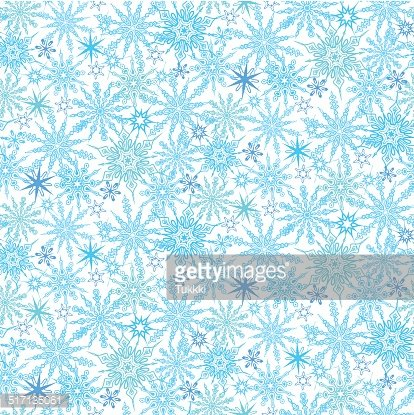 Winter pattern with various falling snowflakes Clipart Image.