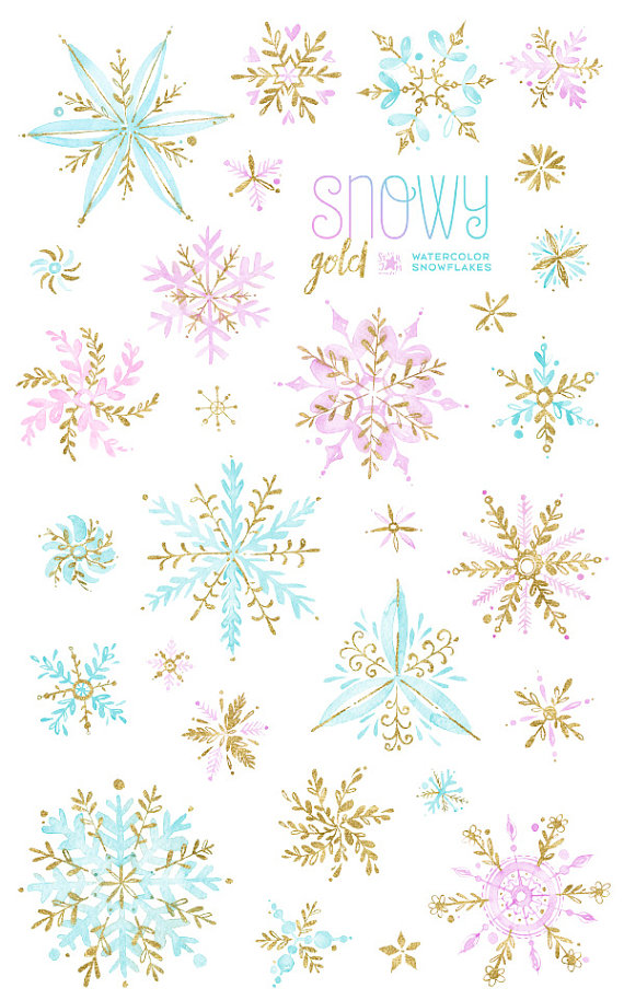 Snowy Gold. Watercolor winter clipart, snowflakes, christmas.