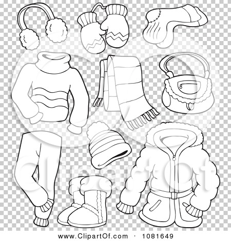 Clipart Outlined Winter Clothing And Accessories.