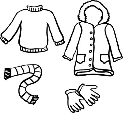 Winter Clothes Coloring Page.