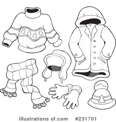 Winter Clothes Black And White Clipart.