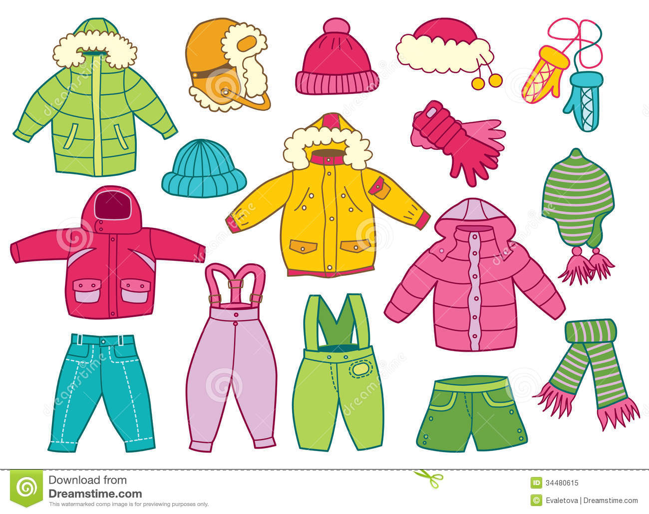 Winter Clothes Clipart.