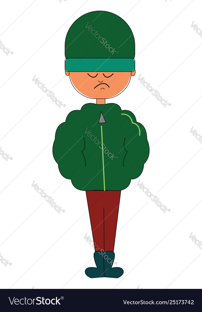 Clipart a man standing in his winter clothes.