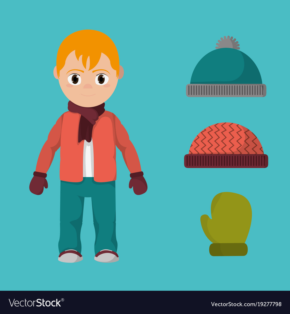 Boy with winter clothes to cold weather.
