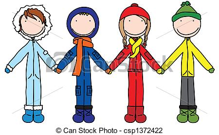 Clip Art of Winter kids.