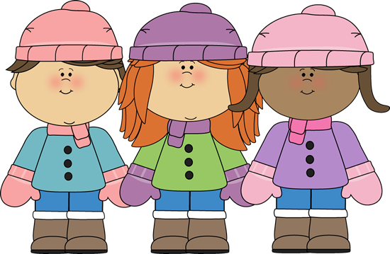 Kids In Winter Coats Clipart.