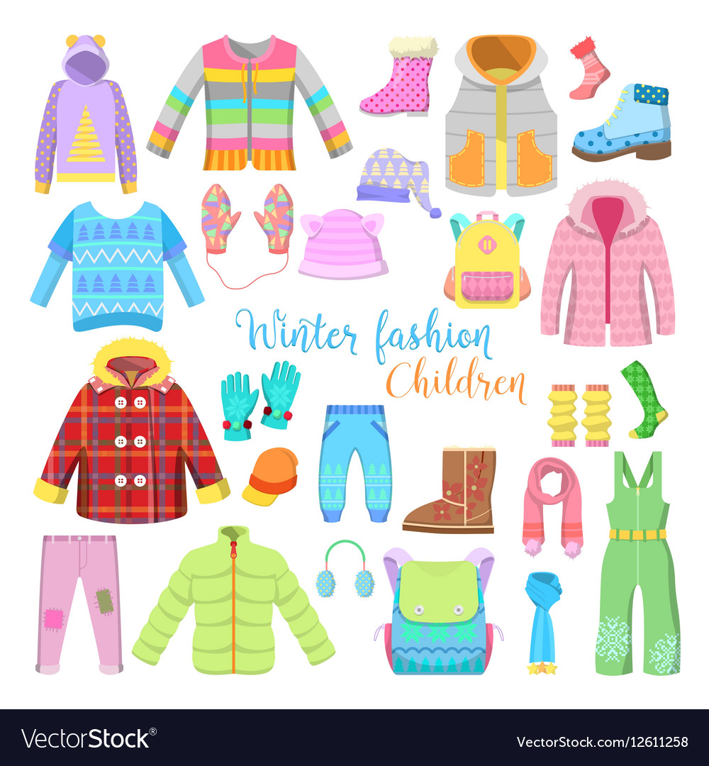 Children Winter Clothes and Accessories Collection.
