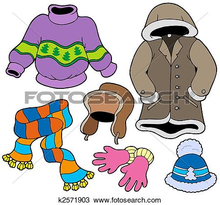 Stock Illustration of Winter clothes collection k1651068.