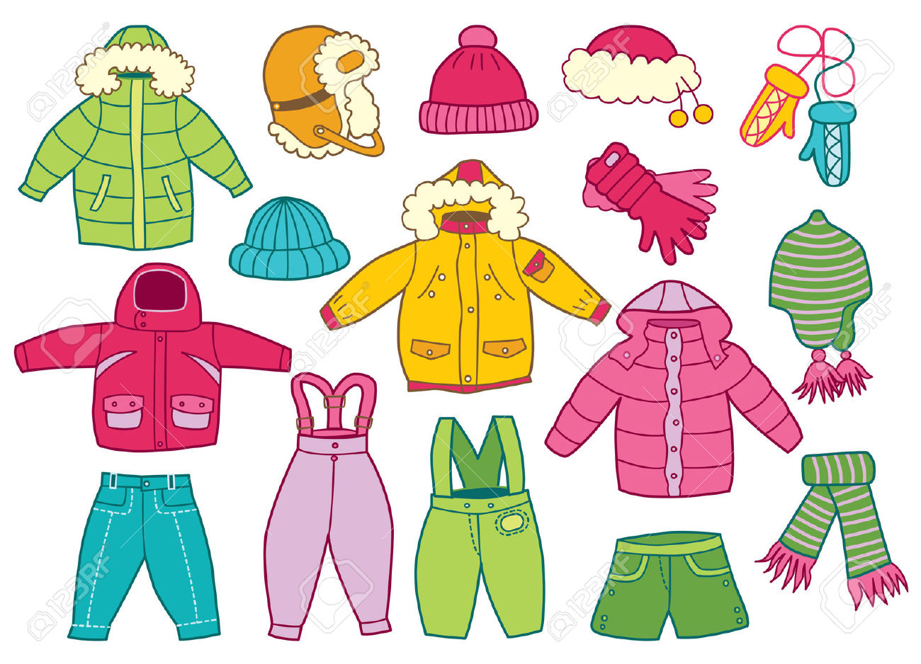 Winter clothes clipart #4