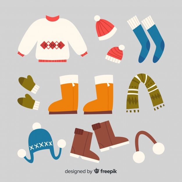 Hand drawn winter clothing background Vector.
