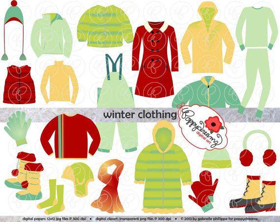 Winter Clothing Clipart Set: Digital Scrapbook Clip Art Pack.