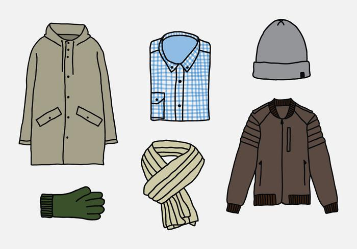 Winter Men Clothes Vectors.