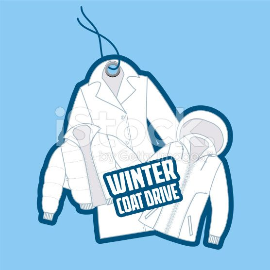 Winter Coat Drive Charity Tag template. Assortment of coats.