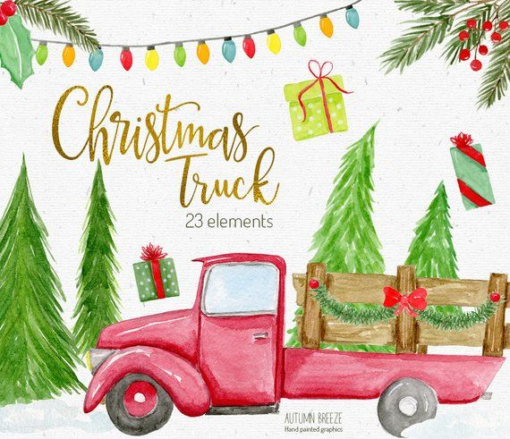 watercolor christmas truck clipart, Winter Clipart.