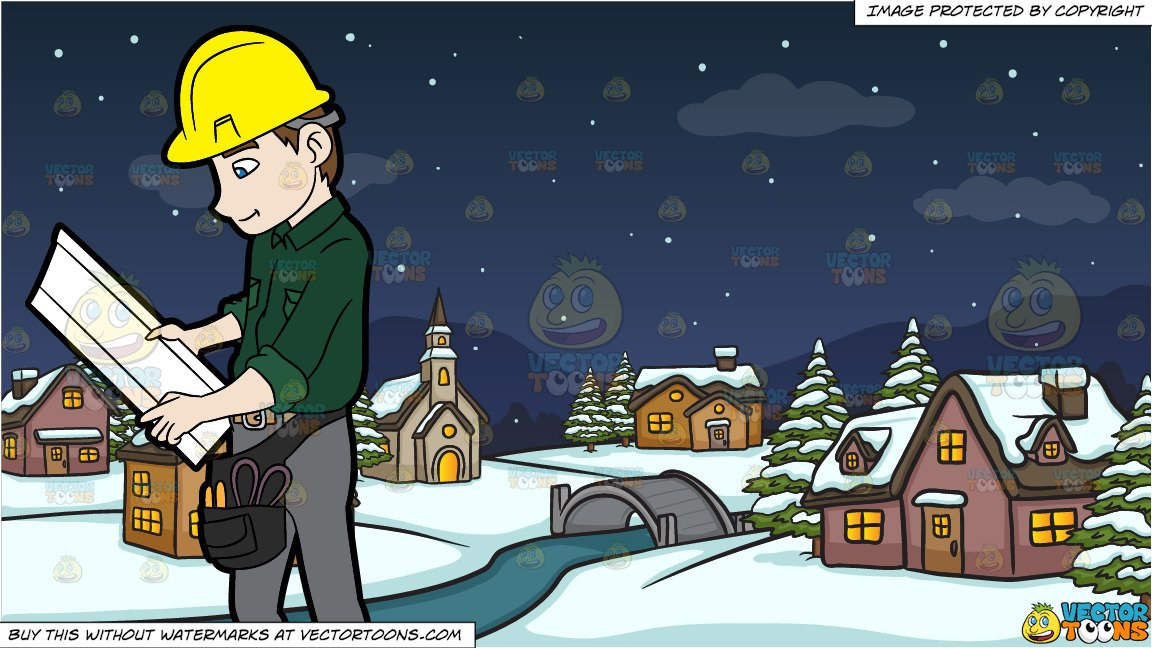 A Construction Worker Examining A Set Of Blueprints and Winter Night In A  Small Town Background.