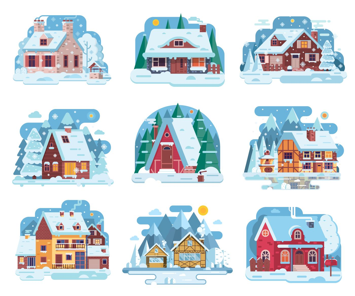Cozy Winter Homes Illustrations on Behance in 2019.