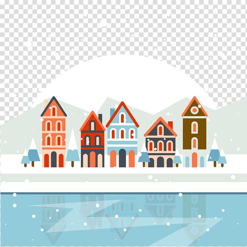 Christmas village Poster , Winter snow transparent.