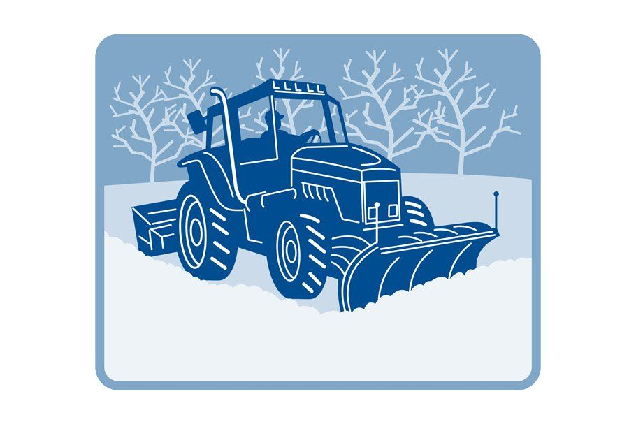 Snow plow tractor plowing winter by patrimonio on.