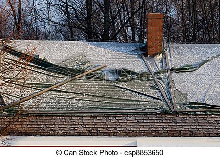 Stock Photography of Snow Damaged Roof.